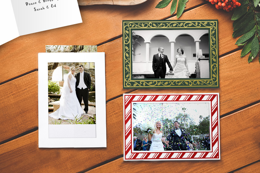 A pocket style photo insert card makes it easy to remove the picture and frame it long after the holiday season is over.