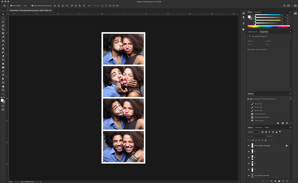 Diy Free Photo Booth Strip Template Download The Event Party