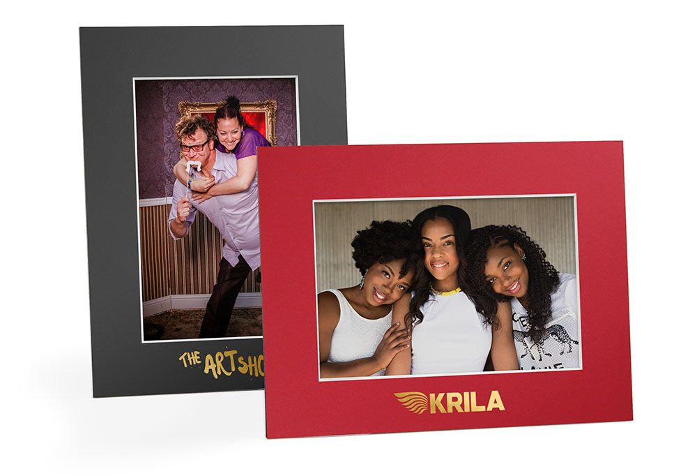 1156823910194 Shown: Sturdy mat board (cardboard) photo frames with gold foil imprinted  logos.