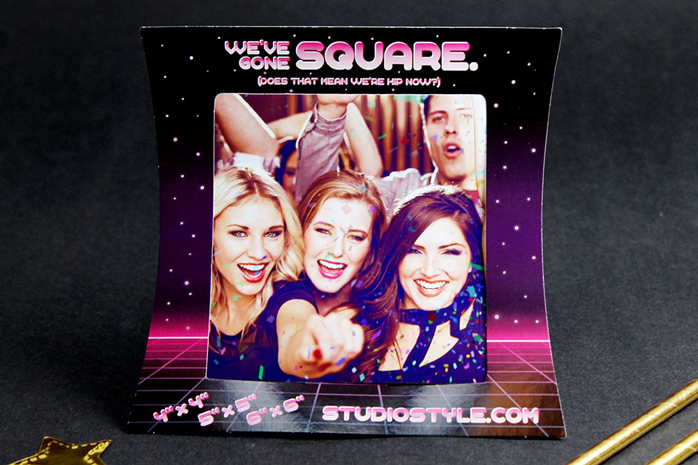 34d843df0a82a Shown: 14pt cardstock square print frame for 4″ x 4″ photo booth pictures.